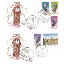 FDC ITALIA Filagrano 24/03/1975 Anno Santo a/Pavia 2 buste v09