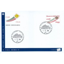 FDC Italia 40/2014 Serie Ordinaria - lettere in volo € 0,80 a/Palermo