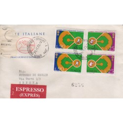 FDC ITALIA 1973 Poste Italiane Unif. 1219/20 Baseball raccomandata in dittico
