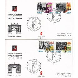 FDC ITALIA 1988 Grolla Club Unif. 1862/5 Cinema Italiano AS/RM APG