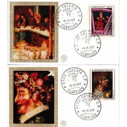 FDC ITALIA 1977 Filagrano Gold Unif. 1384/5 Arte Italiana A/Caserta