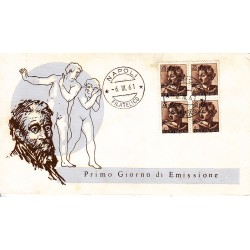 FDC ITALIA 1961 Re.Ru. Unif. 904 Michelangiolesca £ 25 Quartina