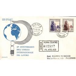 FDC ITALIA 1959 ITALIA Unif. 871/2 Organizzazione Internazionale Lavoro Raccomandata