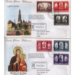 FDC VATICANO Roma 1966 Millenario Cattolico della Polonia raccomandata b