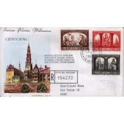 FDC VATICANO Roma 1966 Millenario Cattolico della Polonia raccomandata 1bust