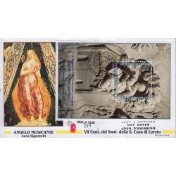 FDC VATICANO 1995 Grolla Unif. 1018 Santa Casa Di Loreto foglietto