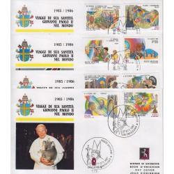 FDC VATICANO 1987 Grolla Unif. 817/24 I Viaggi di Giovanni Paolo II nel Mondo