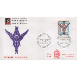 FDC VATICANO 1974 Grolla Unif. A59 Posta Aerea Angelo Basilica San Marco