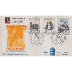 FDC VATICANO 1973 Grolla Unif. 537/39 Santa Teresa del Bambino Gesù