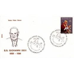 FDC Italia 1981 Rodia Unif 1586 Papa Giovanni XXIII A/S Sotto il Monte