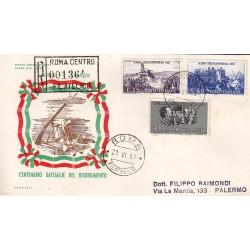 FDC ITALIA 1959 Italia 1 - 866 Centenario della II guerra d'Indipendenza a/PA raccomandata 2 buste