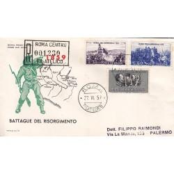 FDC ITALIA 1959 Italia 2 - 866 Centenario della II guerra d'Indipendenza a/PA raccomandata 2 buste