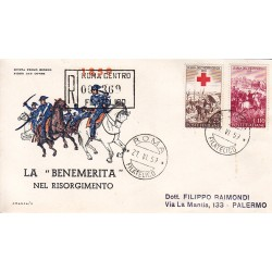 FDC ITALIA 1959 Italia 3 - 866 Centenario della II guerra d'Indipendenza a/Roma raccomandata 2 buste