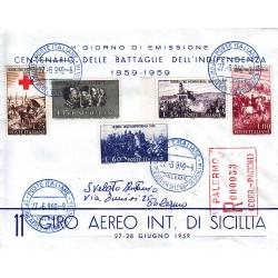 FDC ITALIA 1959 - 866 Centenario della II guerra d'Indipendenza as/Pa 11° giro aereo di Sicilia raccomandata