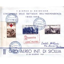 FDC ITALIA 1959 - 866 Centenario della II guerra d'Indipendenza 2 BUSTE as/Pa 11° giro aereo di Sicilia raccomandata