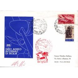 FDC ITALIA 1973 PALERMO C.P. - 25° Giro Aereo Internazionale. di Sicilia annullo speciale  viaggiata