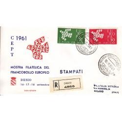 FDC ITALIA 1961 Privato - 932 - Europa CEPT - 6ª emissione Annullo Speciale Desio v02 raccomandata