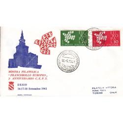 FDC ITALIA 1961 Privato - 932 - Europa CEPT - 6ª emissione Annullo Speciale Desio v03 viaggiata