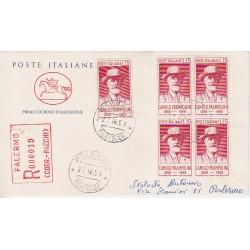 FDC ITALIA 1959 POSTE ITALIANE - 860 - Centenario della nascita di Camillo Prampolini a/PA quartina racc