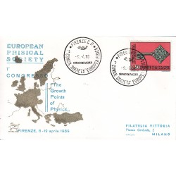 FDC ITALIA Marcofilia - annullo speciale 09/04/1969 FIRENZE C.P. - 1° CONGR. SOCIETA´ EUROPEA FISICA