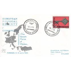 FDC ITALIA Marcofilia - annullo speciale 10/04/1969 FIRENZE C.P. - 1° CONGR. SOCIETA´ EUROPEA FISICA viaggiata