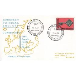 FDC ITALIA Marcofilia - annullo speciale 12/04/1969 FIRENZE C.P. - 1° CONGR. SOCIETA´ EUROPEA FISICA viaggiata