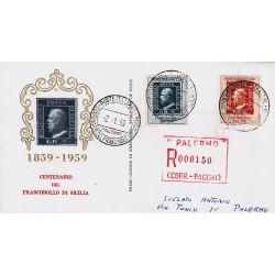 FDC ITALIA 1959 Privato - 851 - Centenario dei francobolli del regno di Sicilia annullo speciale raccomandata