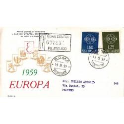 FDC ITALIA 1959 RODIA - 877 S195 Serie completa 2 val. - Europa CEPT annullo Roma in raccomandata