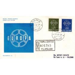 FDC ITALIA 1959 OLIMPIA - 877 S195 Serie completa 2 val. - Europa CEPT annullo Roma in raccomandata