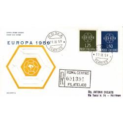 FDC ITALIA 1959 OLIMPIA - 877 S195 Serie completa 2 val. - Europa CEPT annullo Roma in raccomandata 1