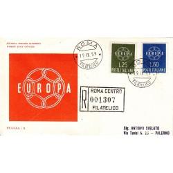FDC ITALIA 1959 ITALIA - 877 S195 Serie completa 2 val. - Europa CEPT annullo Roma in raccomandata