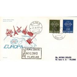FDC ITALIA 1959 ITALIA - 877 S195 Serie completa 2 val. - Europa CEPT annullo Roma in raccomandata 1