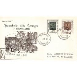 FDC ITALIA 1959 ITALIA - 875 Centenario dei francobolli delle Romagne annullo Roma in raccomandata 1