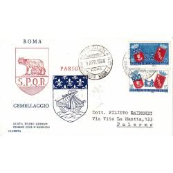 FDC ITALIA 1959 OLIMPIA - 856 - 83º anniversario del gemellaggio Roma - Parigi annullo speciale Roma viaggiata
