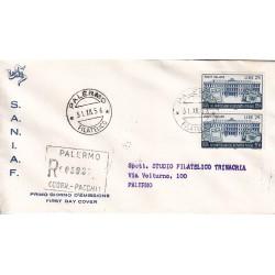 FDC ITALIA 1956 S.A.N.I.A.F. - 808 - 80º Anniversario del risparmio postale in Italia A/PA Raccomandata