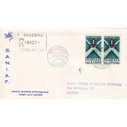 FDC ITALIA 1957 S.A.N.I.A.F. - 815 - Campagna di educazione stradale 25 £ A/PA Raccomandata