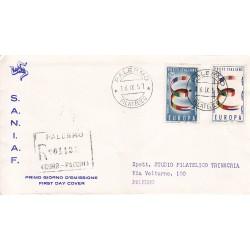 FDC ITALIA 1957 S.A.N.I.A.F. - 817 S178 Serie completa 2 val. - Europa - 2ª emissione 25 £ A/PA Raccomandata