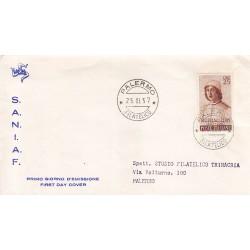 FDC ITALIA 1957 S.A.N.I.A.F. - 820 - 5º centenario della nascita di Filippino Lippi A/PALERMO Viaggiata