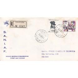 FDC ITALIA 1957 S.A.N.I.A.F. - 822 - Giuseppe Garibaldi annullo Palermo in raccomandata