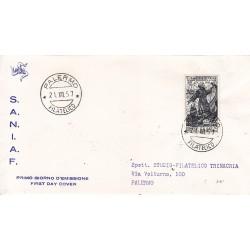 FDC ITALIA 1957 S.A.N.I.A.F. - 825 - 450º anniversario della morte di san Francesco di Paola annullo Palermo viaggiata