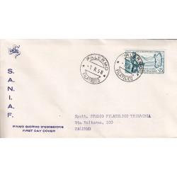 FDC ITALIA 1958 S.A.N.I.A.F. - 826 - Impianti idroelettrici del Flumendosa in Sardegna annullo Palermo viaggiata