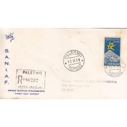 FDC ITALIA 1958 S.A.N.I.A.F. - 832 - Esposizione internazionale di Bruxelles annullo Palermo in raccomandata