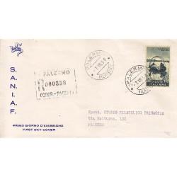 FDC ITALIA 1958 S.A.N.I.A.F. - 835 - Centenario della nascita di Giovanni Segantini Annullo Palermo raccomandata