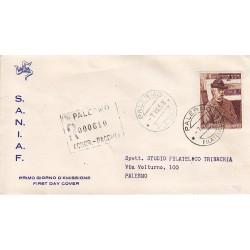 FDC ITALIA 1958 S.A.N.I.A.F. - 836 - 50º anniversario della morte di Giovanni Fattori Annullo Palermo raccomandata