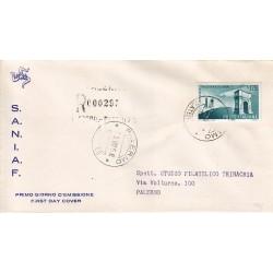 FDC ITALIA 1958 S.A.N.I.A.F. - 837 - Amicizia italo-brasiliana 175 £ Annullo Palermo raccomandata