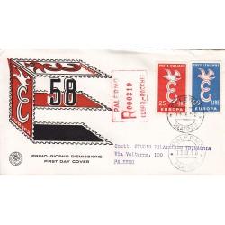 FDC ITALIA 1958 S.A.N.I.A.F. - 838 - Europa CEPT - 3ª emissione Annullo Palermo raccomandata