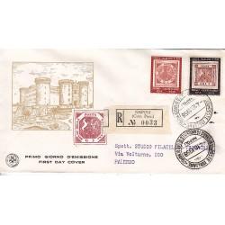 FDC ITALIA 1958 S.A.N.I.A.F. - 840 - Centenario del primo francobollo del regno di Napoli Annullo speciale raccomandata