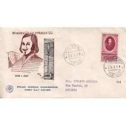 FDC ITALIA 1958 S.A.N.I.A.F. - 842 - 350º Anniversario della nascita di Evangelista Torricelli Annullo Palermo