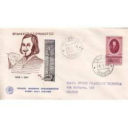 FDC ITALIA 1958 S.A.N.I.A.F. - 842 - 350º Anniversario della nascita di Evangelista Torricelli Annullo Palermo Viaggiata
