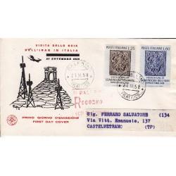 FDC ITALIA 1958 S.A.N.I.A.F. - 846 - Visita in Italia dello Scia dell'Iran Annullo Palermo Raccomandata